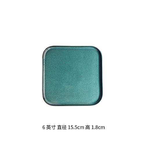 - Ceramic Western plate steak steak square dish dish European home creative pad plate tea tray personality kiln glaze 6 inch square short side - green pine sesame point 15.5x1.8cm
