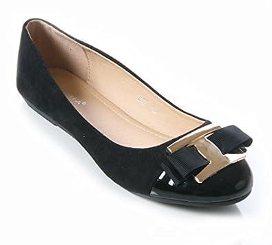 e8552bd2b62 Mojoshu Womens Ladies Patent Metal Bow Trim Flat Ballerina Pump Secretary  Shoes Size 3-8 (UK 4  EU 37