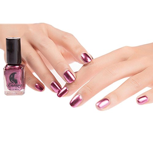 Ourhomer Craney Mirror Nail Varnish Polish Plating Silver Paste Metal Color Stainless Steel Odorless Long Lasting Gel (Purple)