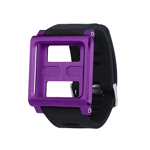 (Hunputa Aluminum Silicone Mix Case Multi-Touch Watch Band For iPod Nano 6/6th (Purple))