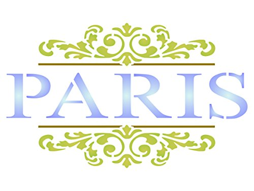 (Paris Scroll Stencil - 5 x 3 inch (S) - Reusable Vintage French Themed Word Wall Stencils for Painting - Use on Paper Projects Scrapbook Journal Walls Floors Fabric Furniture Glass Wood etc.)