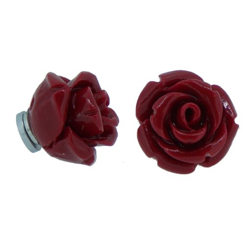 Red White Black Color Rose Magnetic Stud Earrings, Pack of 3 pairs