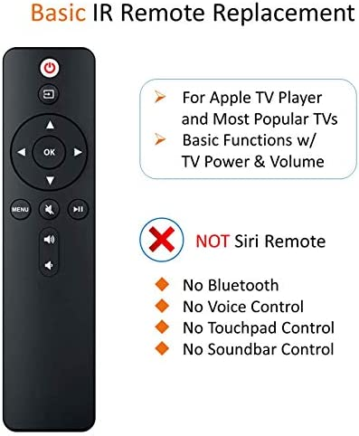aarooGo Replacement IR Remote with TV Power+Volume have compatibility for APL TV Player A1427 A1469 A1378 A1294 MD199LL/A MC572LL/A MC377LL/A MM4T2AM/A MM4T2ZM/A