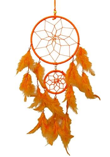 SuSvapnaah Boho Dream Catcher Orange Faux Feather Handmade Web Double Ring Wall Hanging Window Decor