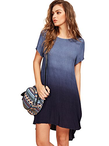 ROMWE Women's Crinkle Tie Dye Ombre A Line High Low Swing Dress Navy (Tie Dye A-line)