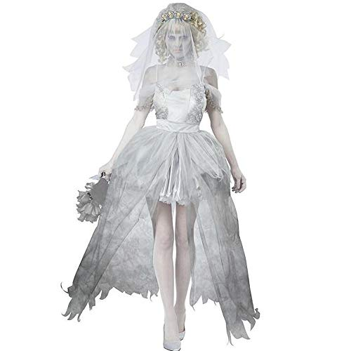 Liu Sensen Women Fancy Dress Halloween Costume Corpse Bride Role Play Outfit Zombies Bride Veil Adults' Dress Princess Cosplay Outfit
