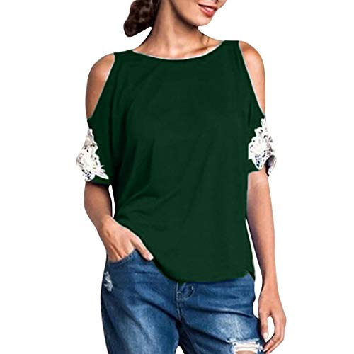 - NCCIYAZ Womens T-Shirt Cold Shoulder Plus Size Lace Short Sleeve Solid Blouse Ladies O-Neck Top Oversized(L(6),Dark Green)