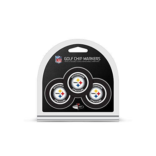 (Team Golf NFL Pittsburgh Steelers Golf Chip Ball Markers (3 Count), Poker Chip Size with Pop Out Smaller Double-Sided Enamel Markers)