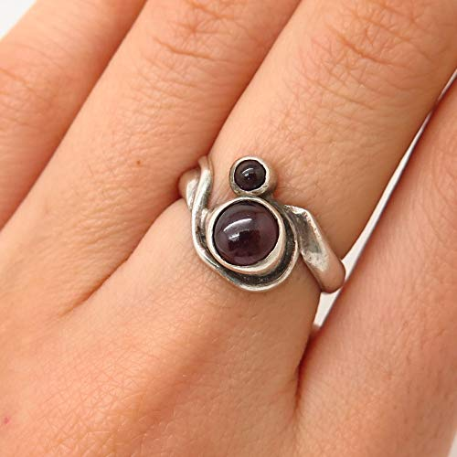 925 Sterling Silver Vintage Real Rhodolite Garnet Gemstone Ring Size 5 3/4 Jewelry by Wholesale Charms