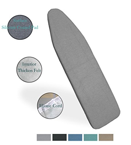 Duwee 15''x54'' Heat Resistance Metallic Ironing Board Cover Durable Thicken Felt Material Standard Size Multi-Color Choices, With Elastic Cord, Easy to Handle and Fits Board Beautifully (Silver) by Duwee