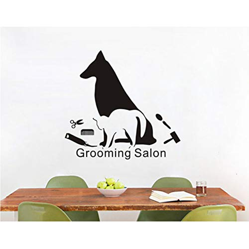 hwhz 52 X 63 cm Art Mural Dog and Cat Make Up Silhouette Wall Stickers Vinyl Wall Decal for Grooming Salon Window Wall Decoration ()