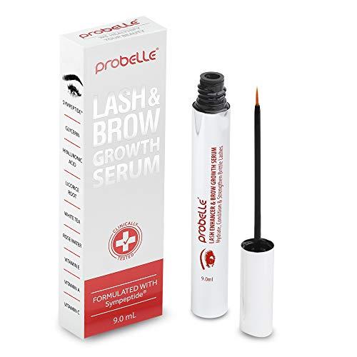 Probelle Lash & Brow Growth Serum, Eyelash Enhancer and Eyebrow Formula with Sympeptite Bioactive Peptide Blend, 9 mL