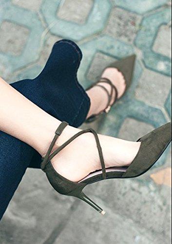 altos Con Zapatos tacones Ajunr transversales fino 39 hebilla verde tiras Moda 8cm Sandalias Transpirable Las correspondencia Una 34 de elegante Toda punta sexy la 80qpI70
