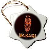 3dRose Alexis Design - Africa in Swahili - Image of African mask and Hello in Swahili. Brown color background - 3 inch Snowflake Porcelain Ornament (orn_288849_1)