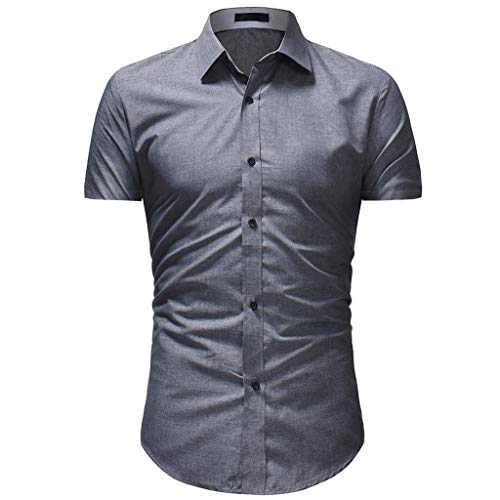 (Men Summer T-Shirt, JOYFEEL  Solid Color Slim Fit Casual Tops Spread Collar Short Sleeve Button Down Polo Blouse Gray)