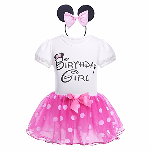 YiZYiF Baby Girls' Polka Dots Cartoon Birthday Party Outfits Romper with Tutu Skirt and Headband Set Rose 18-24 Months