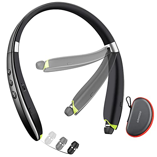 Bluetooth Headset, LOVOCOO [2021 Upgraded] Neckband Bluetooth Headphones with Retractable Earbuds, Noise Cancelling…