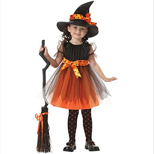 Dream Room Toddler Kids Baby Girls Witch Dress Up Halloween Children Performing Clothes Costume Dress Party Dresses+Witch Hat (3-4T/100, Yellow)