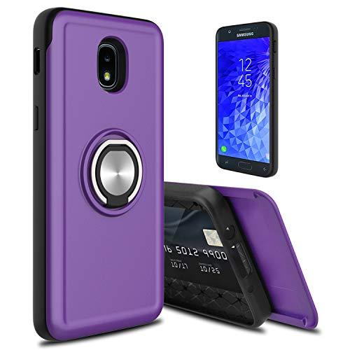 lovpec Hard Galaxy J7 2018 / J7 Refine / J7 Star / J7V 2nd Gen / J7 Top Case, [Cards Slot] Ring Magnetic Holder Kickstand Shockproof Protective Phone Case Cover for Samsung Galaxy J7 2018 (Purple)