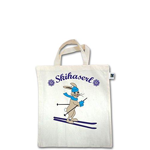 Wintersport - Skihaserl - Unisize - Natural - XT500 - Fairtrade Henkeltasche / Jutebeutel mit kurzen Henkeln aus Bio-Baumwolle