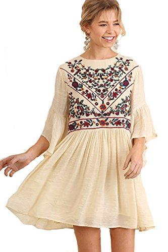 BoHo Bliss! Embroirdered Bell Sleeve Dress (medium, -