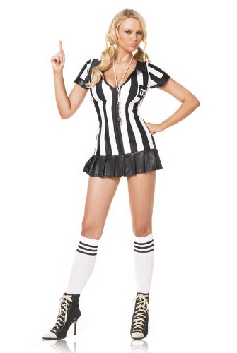 Leg Avenue Womens Referee Costume (Leg Avenue Women's 3 Piece Referee Costume, Black/White, X-Large)