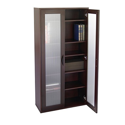 5 Shelf Glass Bookcase (Mahogany Organizer Unit 29.75Wx11.75Dx59.5H in 75-inch furniture-grade laminate wood black handle 5 shelves adjustable in 2.5-in Storage Bookcase frosted ribbed Glass Doors)