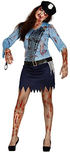 Ladies Dead Zombie Bloody Police Woman Officer Scary Halloween Fancy Dress Costume Outfit (UK 16-18)