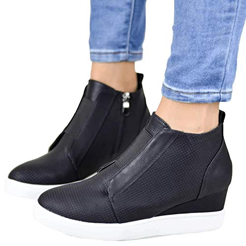 LAICIGO Women's Wedge Sneakers Platform Side Zipper Hollow Out High Top Faux Suede Causal Flat Shoes