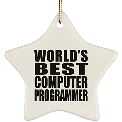 (Designsify World's Best Computer Programmer - Ceramic Star Ornament, Christmas Tree Decor, Best Gift for Birthday, Anniversary, Easter, Valentine's Mother's Father's Day)