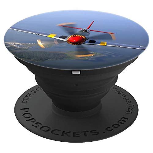 P-51 WW2 Fighter Plane Aviator Gift - PopSockets Grip and Stand for Phones and Tablets ()