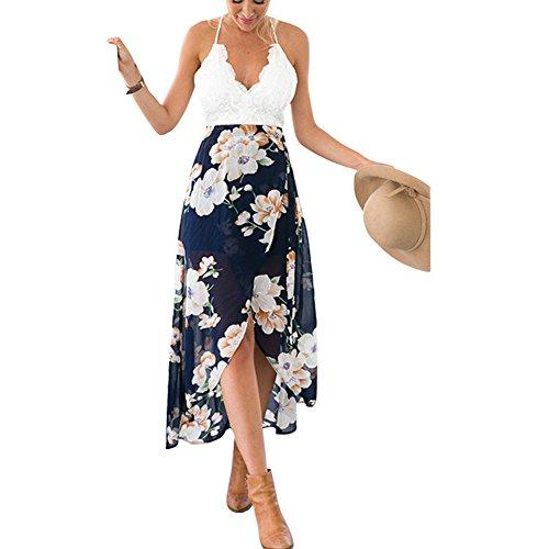 Eiffel Women's Boho Chiffon Off Shoulder Vacation Holiday Summer Beach Long Maxi Dress Swimwear (X-Large, Print) (Low High Print Strapless)