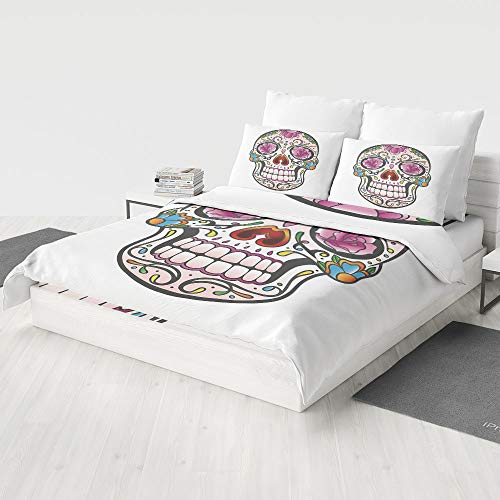 MASCULINTY 4 Piece Bedding Set (Double-Sided Printing),Sugar Skull Decor,Children Bedding Comforter Cover Set(Queen)