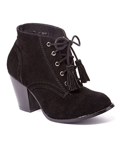 Black up Heel Stacked Albert Booties Women's Chunky Charles Lace Tassle Ankle with 6tPSwXq