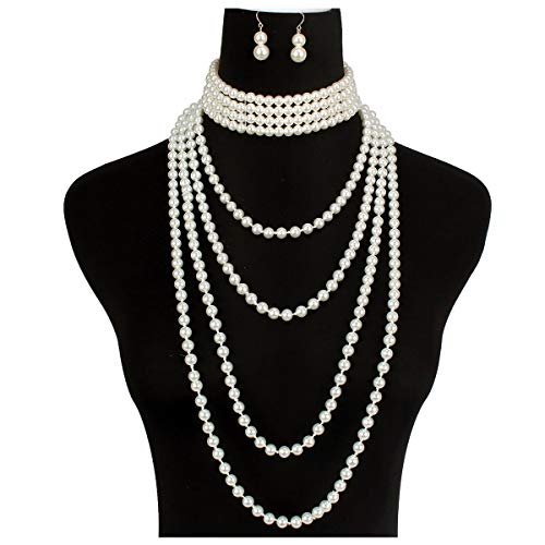 - LuckyHouse Multi Layer Simulated Faux Pearl Strands Necklace Costume Jewelry Set for Women Girls Necklace and Earrings