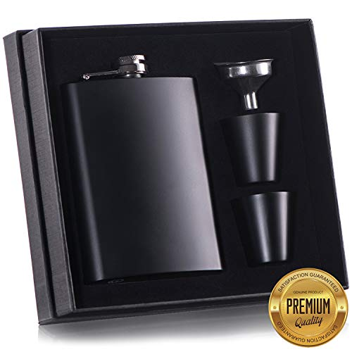 8 oz Black Flask with Shot Glass for Liquor for Men Metal Stainless Steel Flasks by Murkon