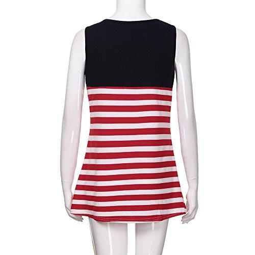 HOSOME New Women Summer Casual Sleeveless USA American Flag Damask Print Tank Vest Tops Blouse T Shirt Dress