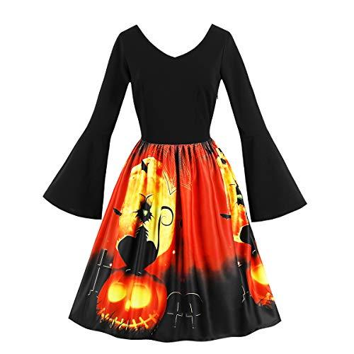 Wellwits Women's Cat Pumpkin Halloween Print Bell Long Sleeve Vintage Dress -