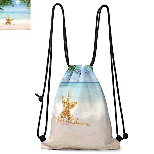Ocean Made of polyester fabric Graphic of Summer Sandy Beach with Majestic Starfish on Tropical Hawaiian Beach Waterproof drawstring backpack W17.3 x L13.4 Inch Cream Blue Green