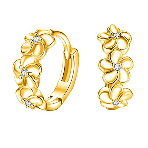 (Windoson Camellia Earrings Decorated with Precious Stones Hypoallergenic Jewelry Suitable for Ladies Girls Gift (Gold))