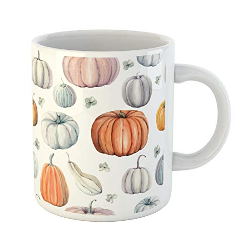 Tarolo 11 Oz Mug Coffee Mug Ceramic Tea Cup Autumn Watercolor Pumpkins It Is Thanksgiving Halloween Recipe Food Gourd Pattern Large C-handle Family and Office Gift]()