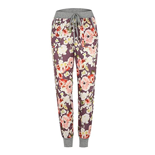 iTLOTL Womens Mid Waist Floral Print Trousers Ladies Casual Drawstring Pants(Purple,S) ()