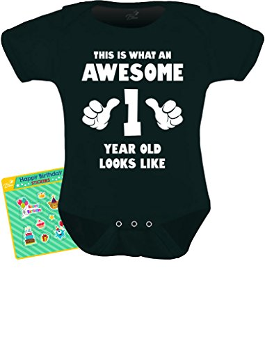 TeeStars - This Is What an Awesome One Year Old Looks Like Funny Baby Bodysuit 18M Black
