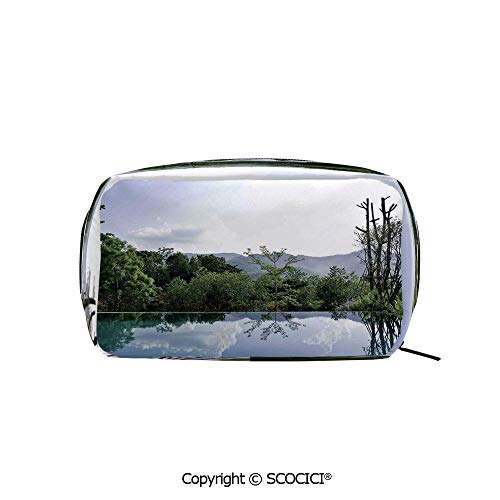Travel Cosmetic Bag Portable Makeup Pouch Cloud and Tree Reflections on the Pool Forest Distant Hills Getaway makeup clutch for Girls Ladies Women ()