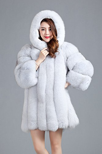 Top Fur Women Hooded Whole Skin Fox Fur Winter Coat Jacket US 12 by TOPFUR (Image #1)
