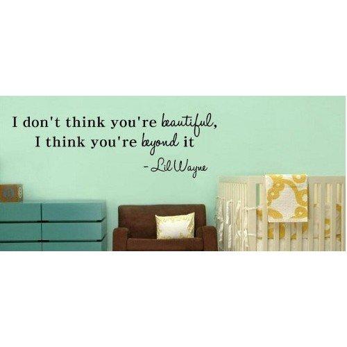 I Dont think you're beautiful, I think you're beyond it Lil Wayne wall art qu... (Lil Wayne Lyrics compare prices)