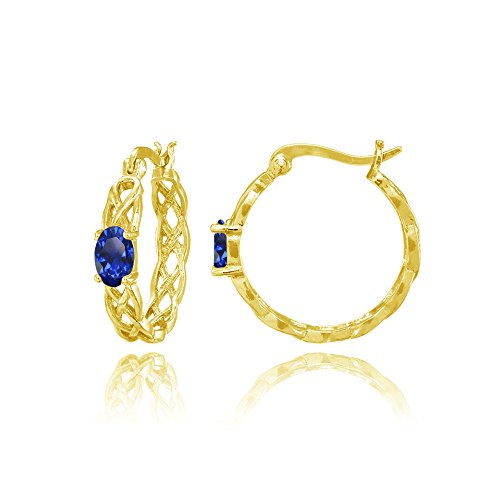 Yellow Gold Flashed Sterling Silver Created Blue Sapphire Celtic Knot Round Hoop Earrings