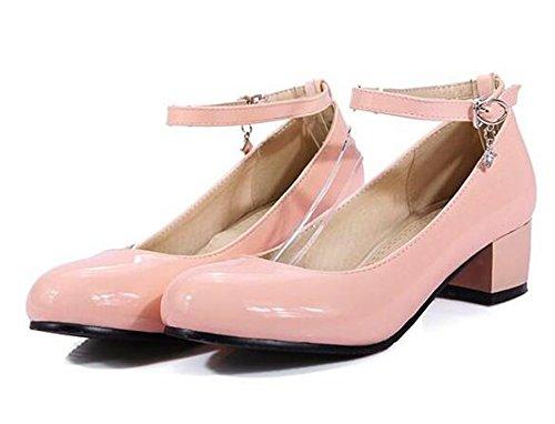Easemax Élégante Bride À La Cheville Sangle Bout Rond Moyen Bloc Talon Pompes Chaussures Rose