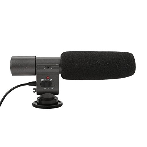 Acouto 3.5mm Port Professional Stereo Interview Microphone for DV & DSLR Camera Camcorder