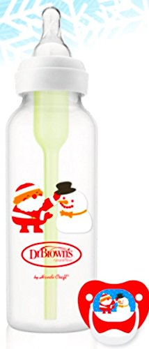 Snowman Bottle - Dr. Brown's Holiday Options Bottle, 1- 8 oz. bottle with 1 Prevent Pacifier - Santa with Snowman